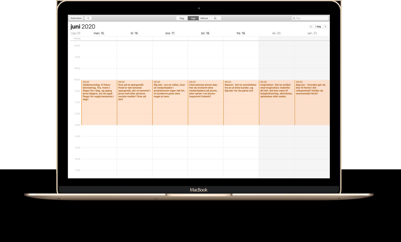 Macbook sociale medier kalender